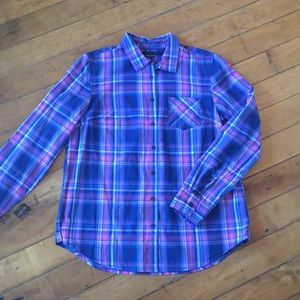 Tommy Hilfiger pink and blue plaid shirt
